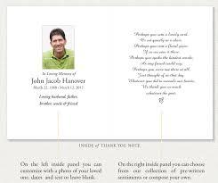 make a funeral program memorial thank you notes by memorial prayer cards sympathy thank