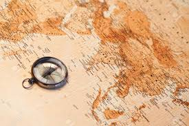 Africa And Asia Map by World Map With Compass Showing Africa And Asia Stock Photo