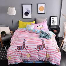 cartoon stripes bedding set zebras pattern printed duvet cover blue bed sheet pillow case single twin full queen size bed linens