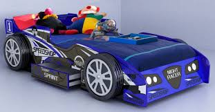 Car Bed Frames Cool Blue Race Car Beds For Toddlers With Toys And Storage
