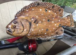 Fish Home Decor Flounder 22 Wooden Chainsaw Fish Sculpture Fluke Fishing