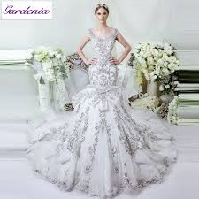 Cheap Designer Wedding Dresses Glamorous Bling Wedding Dress Mermaid Fit And Flare Lace Tulle
