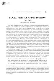 logic plrysics and intuition peter clark philosophical