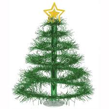 club pack of 12 metallic green tinsel tree with gold