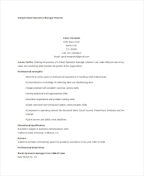 Sample Operations Manager Resume by 7 Operations Manager Resume Free Sample Example Format Free