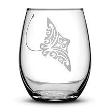 amazon com eagle stemless wine glass tribal stingray design