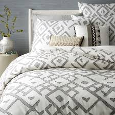 How To Make A Bed With A Duvet Organic Fading Diamond Jacquard Duvet Cover Shams West Elm