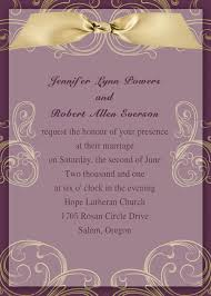 purple and gold wedding invitations vintage gold and plum ribbon layered wedding invitation ewi131 as