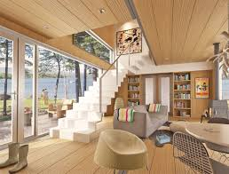 wooden paneling cozy interior design for modern shipping home container with