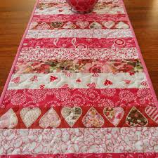valentines day table runner quilted batik table runner in tonga spice from susiquilts on etsy