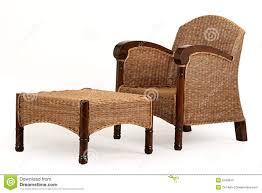 U Schreibtisch Ein Holz Und Ein Strohstuhl Und Schreibtisch Lizenzfreies