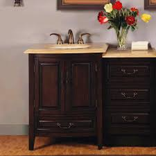 46 5 inch single sink bathroom vanity with led travertine counter