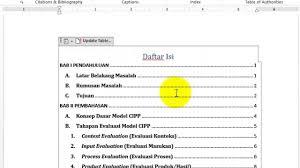 cara membuat garis pada daftar isi makalah tutorial membuat daftar isi otomatis dan penomoran halaman ms word