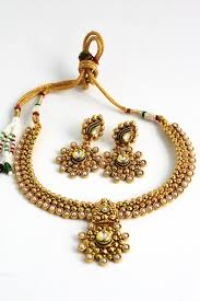 antique jewelry necklace sets images Antique gold plated traditional kundan necklace set sharepyar JPG