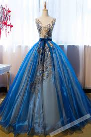 beautiful dress appliqued blue organza prom dress gown beautiful poofy prom