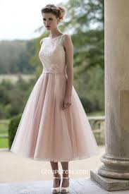 pretty wedding dresses embroidered sleeveless blush pretty flower tea length tulle fall