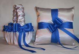silver and royal blue wedding silver satin with horizon blue royal blue trim flower