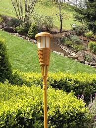 newhouse lighting solar flickering led tiki torches bamboo finish