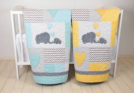twin baby quilts elephant crib bedding teal yellow and gray
