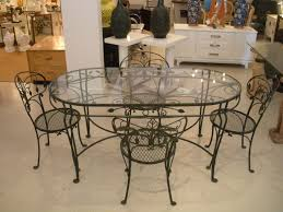 fascinating wrought iron dining room table base with glass top