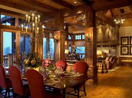 dining room columns rustic with montana wooden standard height tables