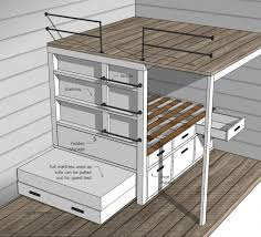 Build A Loft Bed With Storage by Ana White Build A Tiny House Loft With Bedroom Guest Bed