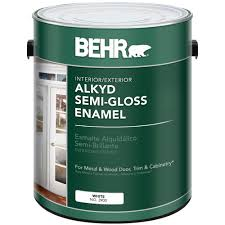 behr 1 gal white alkyd semi gloss enamel interior exterior paint