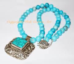 turquoise stone 21 blue turquoise statement necklace boho turquoise nepal repousse