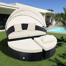 cloud mountain 4 pc cushioned wicker daybed outdoor wicker rattan