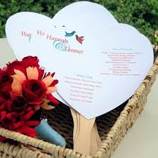 wedding program fan template heart wedding program fan kit diy paper fans for wedding 50 pk