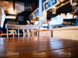 table top with seat bar counter cafe restaurant background stock