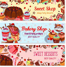 bakery and sweet shop ice cream cafe banner set cake cupcake