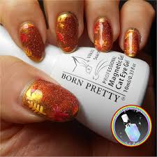 autumn leaves with gold mirror chrome u0026 magnetic nail polish
