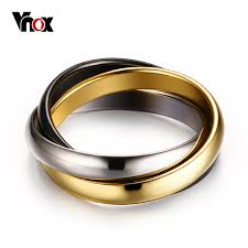 stainless steel wedding ring sets aliexpress buy vnox classic 3 rounds ring sets for women