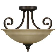 Flush Mount Ceiling Lights Home Depot Hton Bay 16 5 In 2 Light Aged Bronze Semi Flushmount