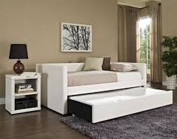 Leather Daybed With Trundle Bedroom Rectangle White Leather Daybed With Storage And Trundle