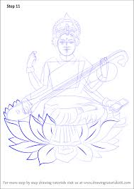 learn how to draw saraswati hinduism step by step drawing