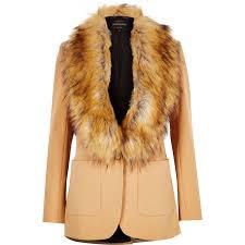 river island camel brown faux fur collar blazer in natural lyst