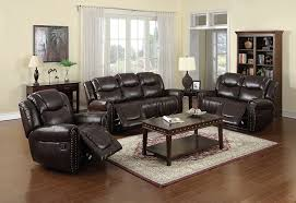 Leather Living Room Sets Sale Amazon Com Nora Brown Leather Reclining 3 Pc Living Room Sofa Set