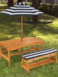 Wooden Picnic Tables With Separate Benches Diy Rectangle Outdoor Picnic Table With Umbrella And Detached