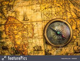 Ancient Map Image Of Vintage Compass And Ancient World Map