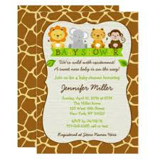 jungle animals baby shower invitations announcements