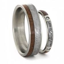 unique matching wedding bands his and hers diamond wedding ring with meteorite wedding band unique ring set