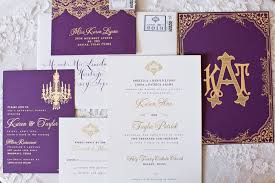 purple and gold wedding invitations chic purple and gold wedding invitation