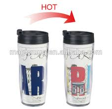 design plastic mug custom design double wall plastic heat sensitive travel mugs printed