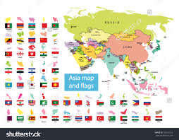 Asia Continent Map by Asia Map Countries Flag Stock Vector 102912518 Shutterstock