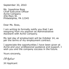 resignation sample format resignation letter example example