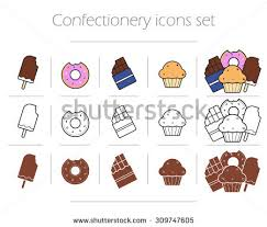 confectionery icons set ice cream thin stock vector 309747605