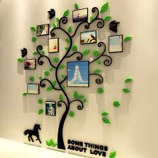compare prices on family wall art online shopping buy low price 3d acrylic family tree wall stickers with photo frame living room green wall art decal home