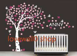 nursery large cherry blossom tree with custom name butterfly room nursery large cherry blossom tree with custom name butterfly room house home wall sticker art murals stickers decal decor removeable 603